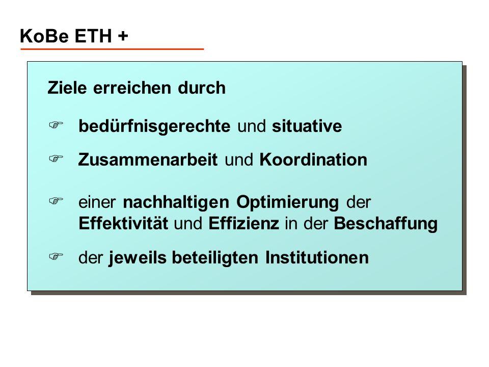 KoBe ETH + Ziele erreichen durch bedürfnisgerechte und situative Zusammenarbeit und Koordination einer nachhaltigen Optimierung der Effektivität und E