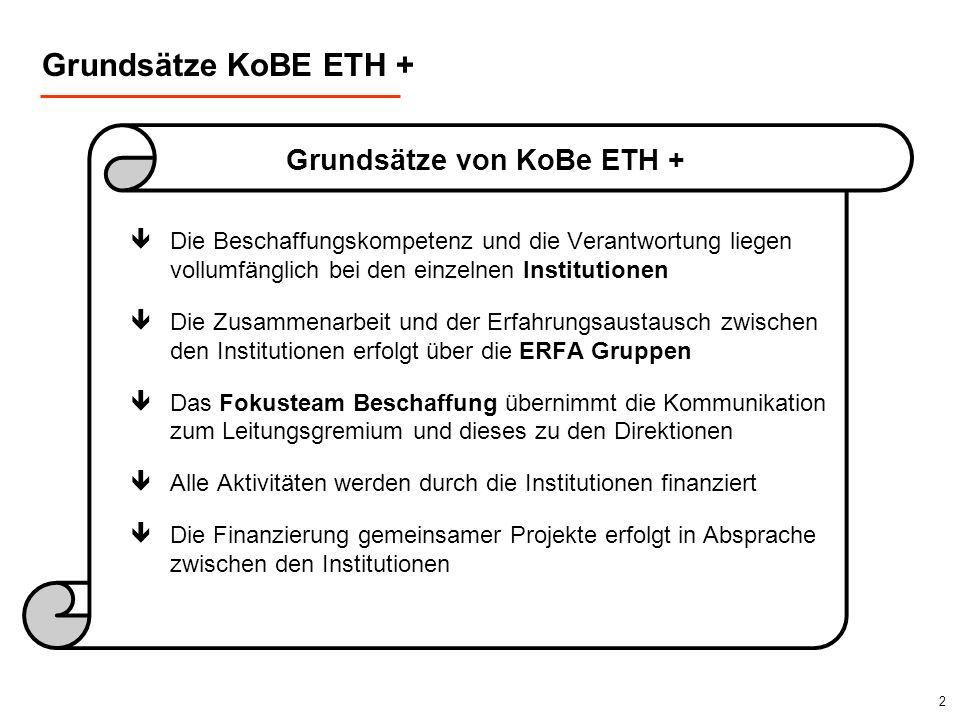 2 Grundsätze von KoBe ETH + Grundsätze KoBE ETH + êDie Beschaffungskompetenz und die Verantwortung liegen vollumfänglich bei den einzelnen Institution