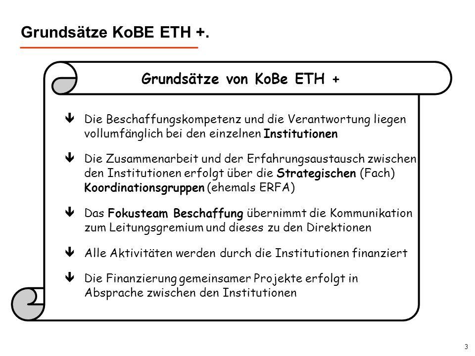 3 Grundsätze von KoBe ETH + Grundsätze KoBE ETH +. êDie Beschaffungskompetenz und die Verantwortung liegen vollumfänglich bei den einzelnen Institutio
