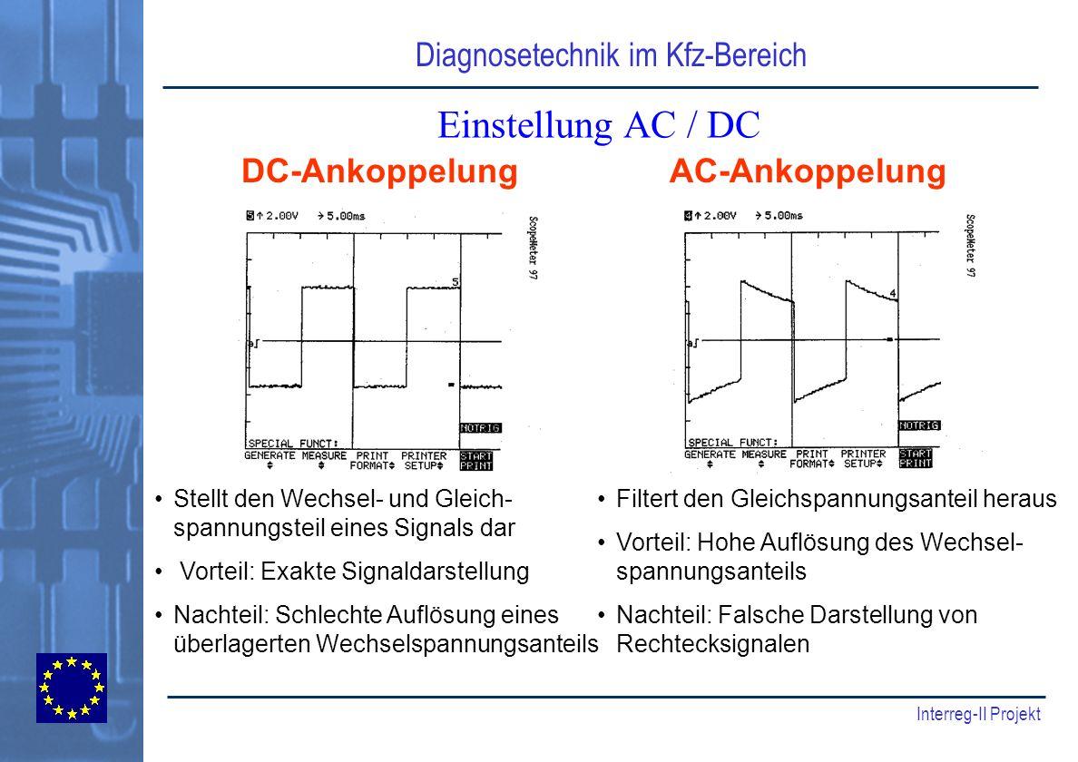 Diagnosetechnik im Kfz-Bereich Interreg-II Projekt Einstellung AC / DC DC-AnkoppelungAC-Ankoppelung Stellt den Wechsel- und Gleich- spannungsteil eine