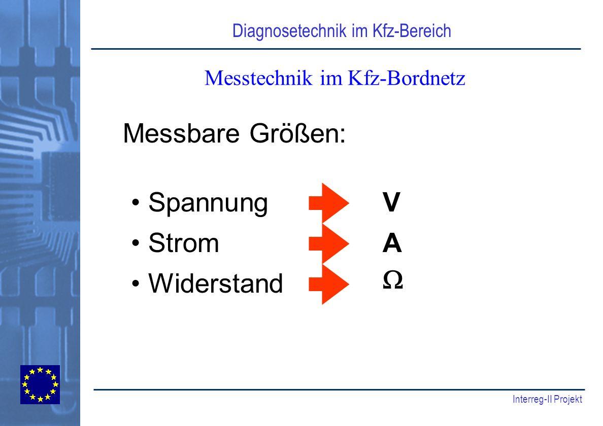 Diagnosetechnik im Kfz-Bereich Interreg-II Projekt Messtechnik im Kfz-Bordnetz Messbare Größen: Spannung Strom Widerstand V A