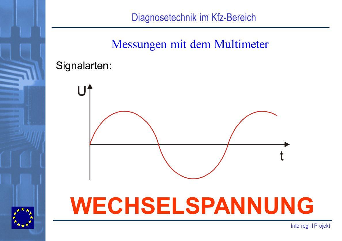 Diagnosetechnik im Kfz-Bereich Interreg-II Projekt Messungen mit dem Multimeter Signalarten: WECHSELSPANNUNG