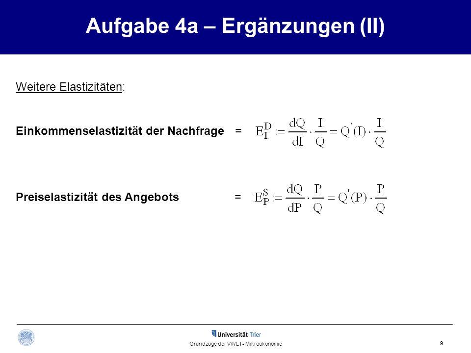 Aufgabe 4a – Ergänzungen (II) 9 Grundzüge der VWL I - Mikroökonomie Einkommenselastizität der Nachfrage = Preiselastizität des Angebots = Weitere Elas