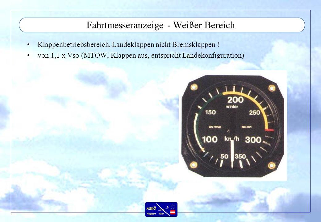 Fahrtmesseranzeige - Weißer Bereich Klappenbetriebsbereich, Landeklappen nicht Bremsklappen ! von 1,1 x Vso (MTOW, Klappen aus, entspricht Landekonfig