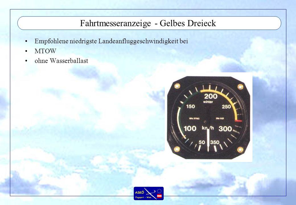 Fahrtmesseranzeige - Gelbes Dreieck Empfohlene niedrigste Landeanfluggeschwindigkeit bei MTOW ohne Wasserballast