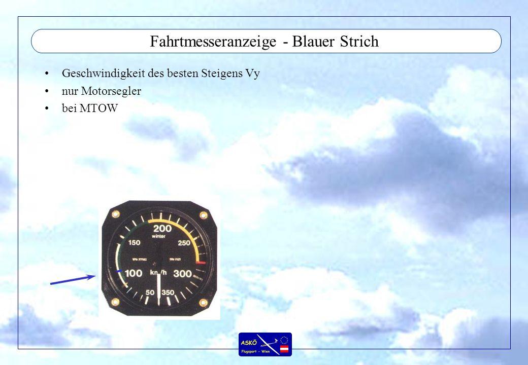 Fahrtmesseranzeige - Blauer Strich Geschwindigkeit des besten Steigens Vy nur Motorsegler bei MTOW
