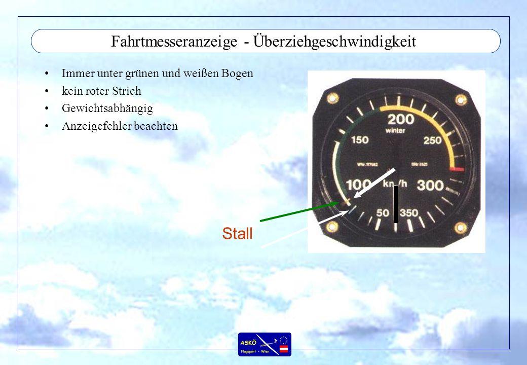 Fahrtmesseranzeige - Überziehgeschwindigkeit Immer unter grünen und weißen Bogen kein roter Strich Gewichtsabhängig Anzeigefehler beachten Stall