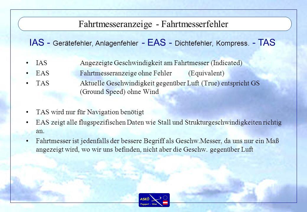 Fahrtmesseranzeige - Fahrtmesserfehler IASAngezeigte Geschwindigkeit am Fahrtmesser (Indicated) EASFahrtmesseranzeige ohne Fehler(Equivalent) TASAktue