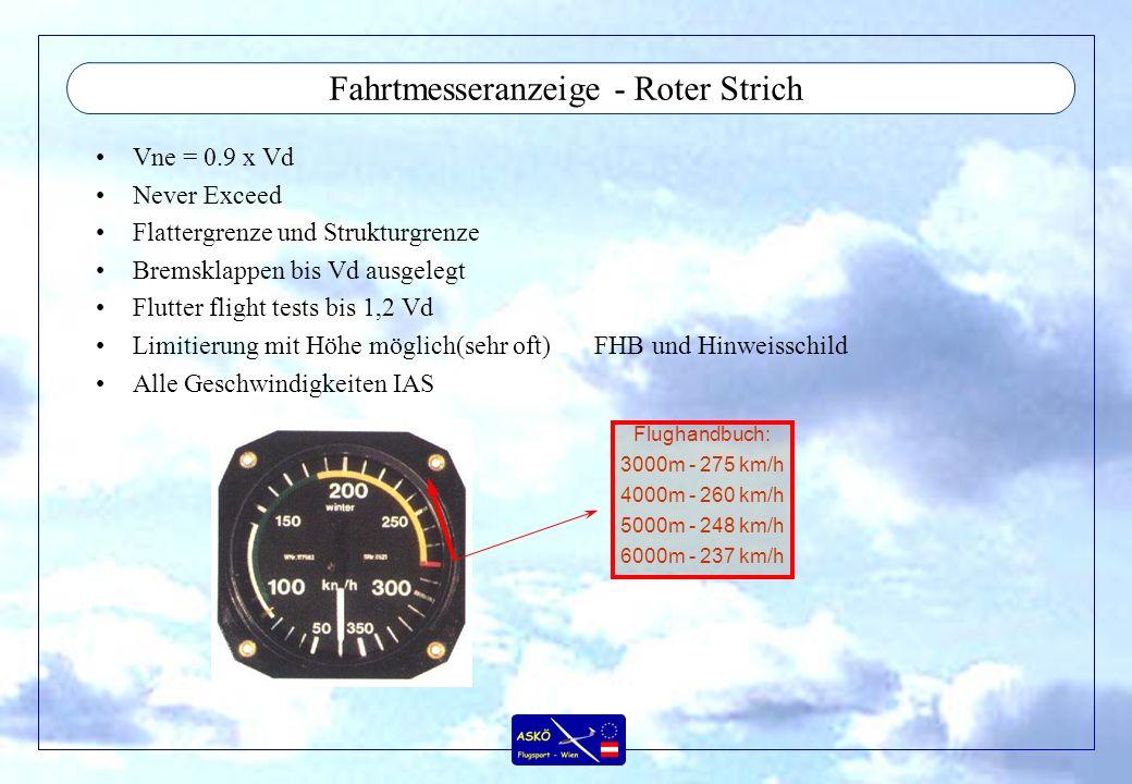 Fahrtmesseranzeige - Roter Strich Vne = 0.9 x Vd Never Exceed Flattergrenze und Strukturgrenze Bremsklappen bis Vd ausgelegt Flutter flight tests bis