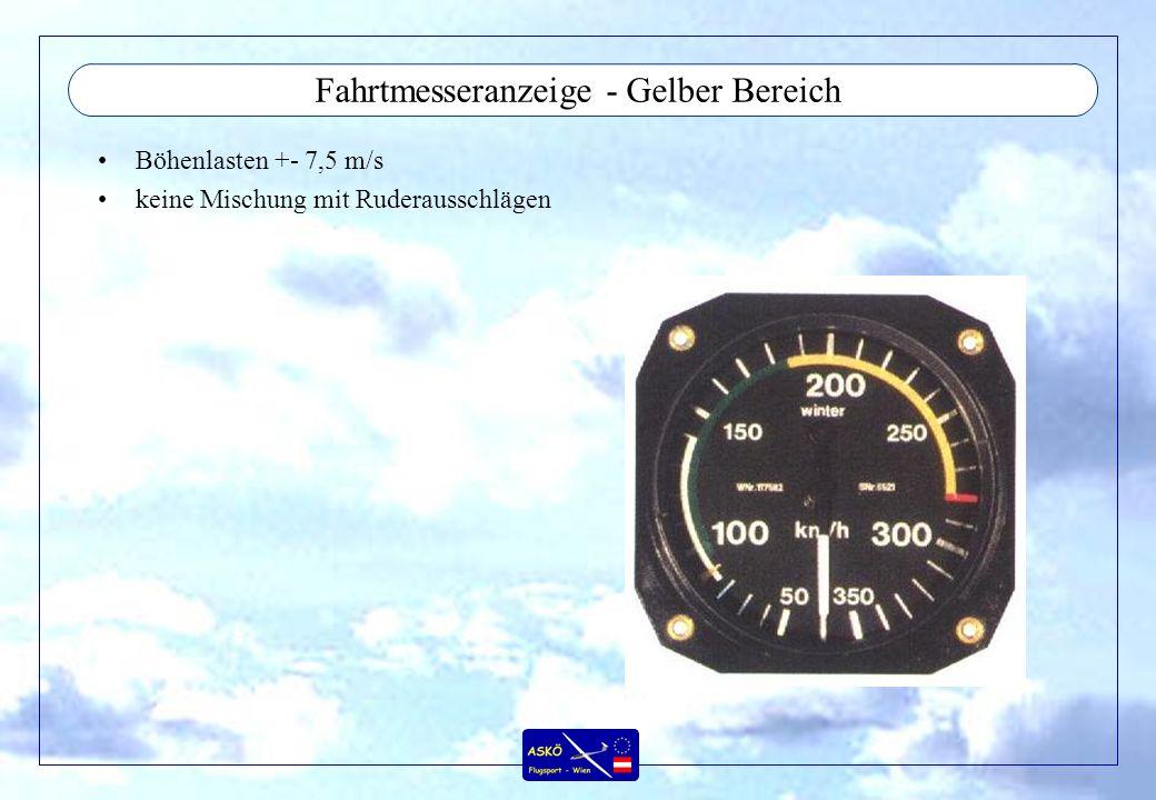 Fahrtmesseranzeige - Grüner Bereich Böhen +- 15 m/s unteres Ende = 1,1 x Vs1 (MTOW, Flap neutral, entspricht Reiseflugkonfiguration)