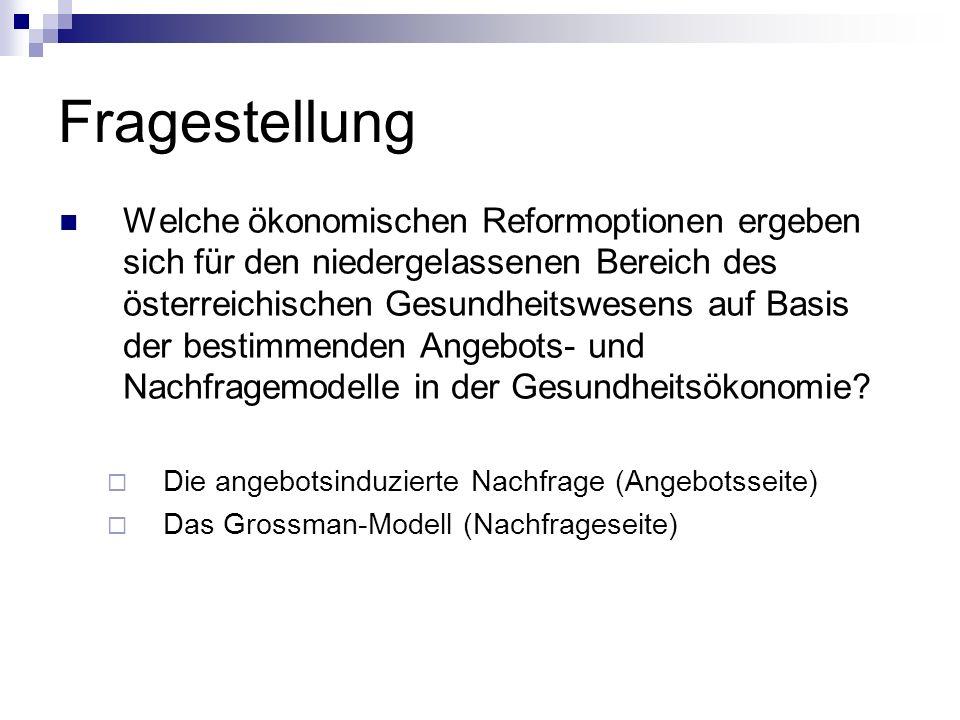 Fragestellung Welche ökonomischen Reformoptionen ergeben sich für den niedergelassenen Bereich des österreichischen Gesundheitswesens auf Basis der be