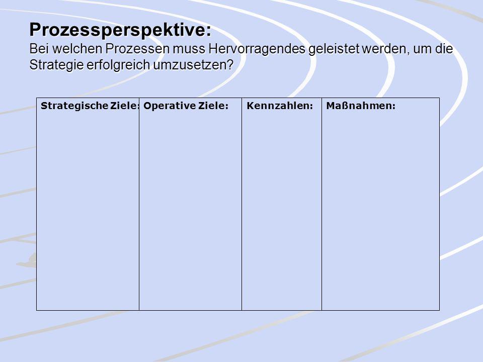 Prozessperspektive: Bei welchen Prozessen muss Hervorragendes geleistet werden, um die Strategie erfolgreich umzusetzen? Strategische Ziele:Operative