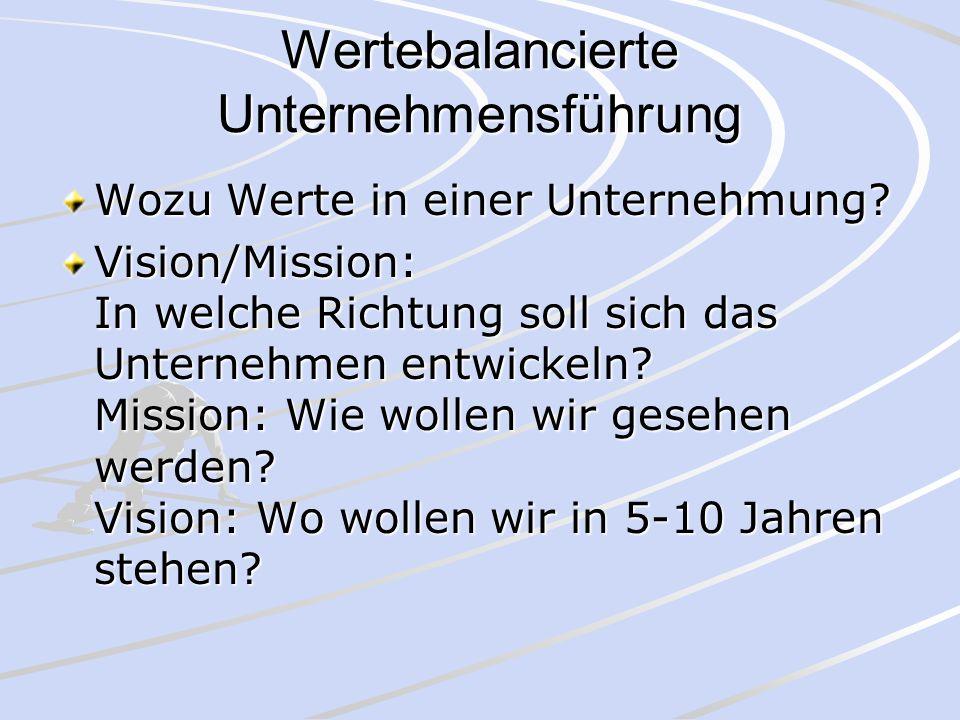 Wertebalancierte Unternehmensführung Wozu Werte in einer Unternehmung? Vision/Mission: In welche Richtung soll sich das Unternehmen entwickeln? Missio