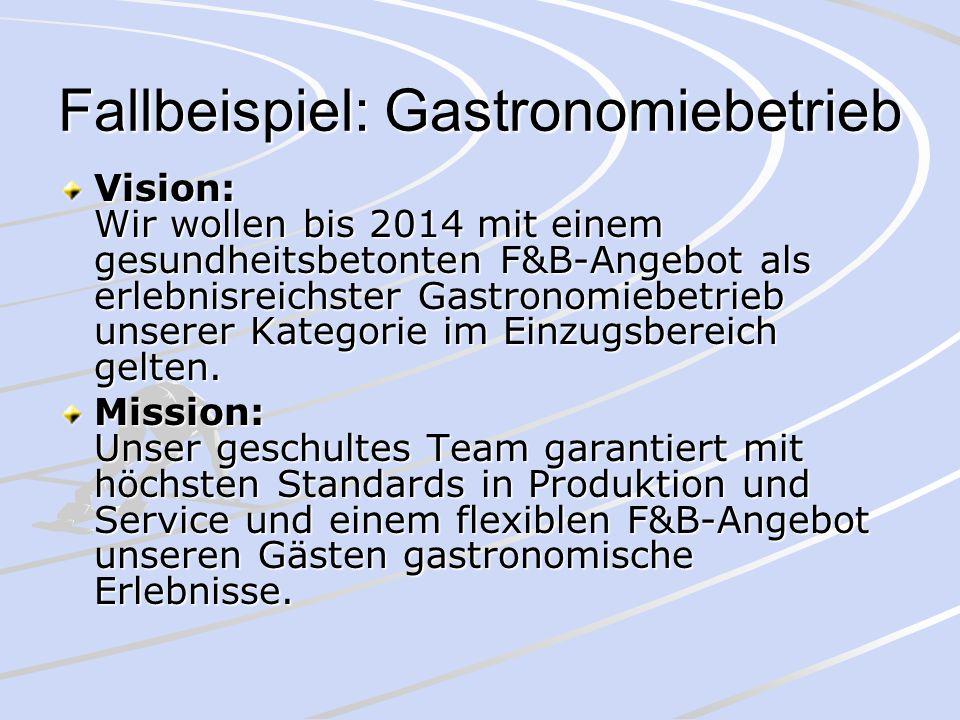 Fallbeispiel: Gastronomiebetrieb Vision: Wir wollen bis 2014 mit einem gesundheitsbetonten F&B-Angebot als erlebnisreichster Gastronomiebetrieb unsere