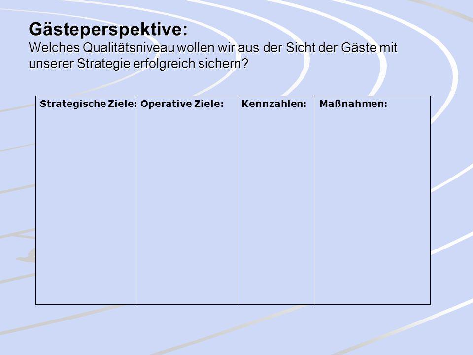 Gästeperspektive: Welches Qualitätsniveau wollen wir aus der Sicht der Gäste mit unserer Strategie erfolgreich sichern? Strategische Ziele:Operative Z