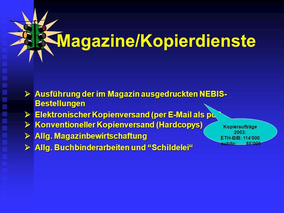 Ausführung der im Magazin ausgedruckten NEBIS- Bestellungen Ausführung der im Magazin ausgedruckten NEBIS- Bestellungen Elektronischer Kopienversand (per E-Mail als pdf) Elektronischer Kopienversand (per E-Mail als pdf) Magazine/Kopierdienste Kopieraufträge 2003: ETH-BIB: 114000 subito: 85000 Konventioneller Kopienversand (Hardcopys) Konventioneller Kopienversand (Hardcopys) Allg.