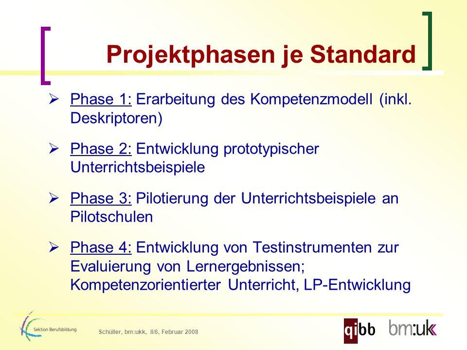 Schüller, bm:ukk, II/6, Februar 2008 Projektphasen je Standard Phase 1: Erarbeitung des Kompetenzmodell (inkl.