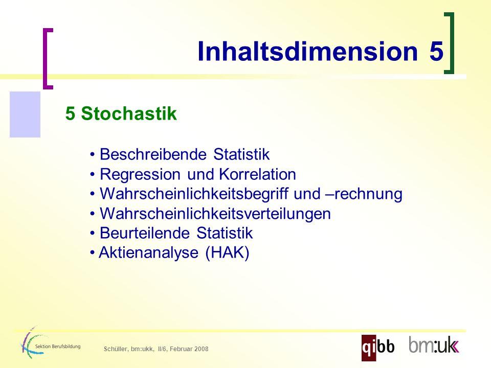 Schüller, bm:ukk, II/6, Februar 2008 5 Stochastik Beschreibende Statistik Regression und Korrelation Wahrscheinlichkeitsbegriff und –rechnung Wahrscheinlichkeitsverteilungen Beurteilende Statistik Aktienanalyse (HAK) Inhaltsdimension 5