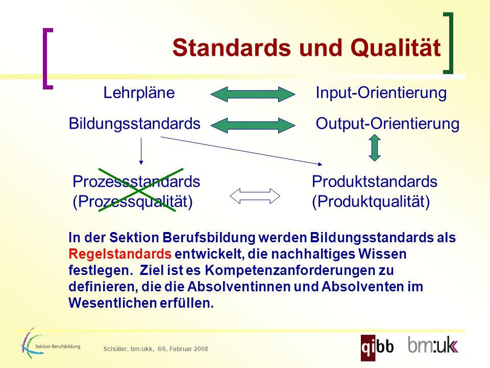 Schüller, bm:ukk, II/6, Februar 2008 Standards und Qualität Bildungsstandards LehrpläneInput-Orientierung Output-Orientierung Prozessstandards (Prozessqualität) Produktstandards (Produktqualität) In der Sektion Berufsbildung werden Bildungsstandards als Regelstandards entwickelt, die nachhaltiges Wissen festlegen.