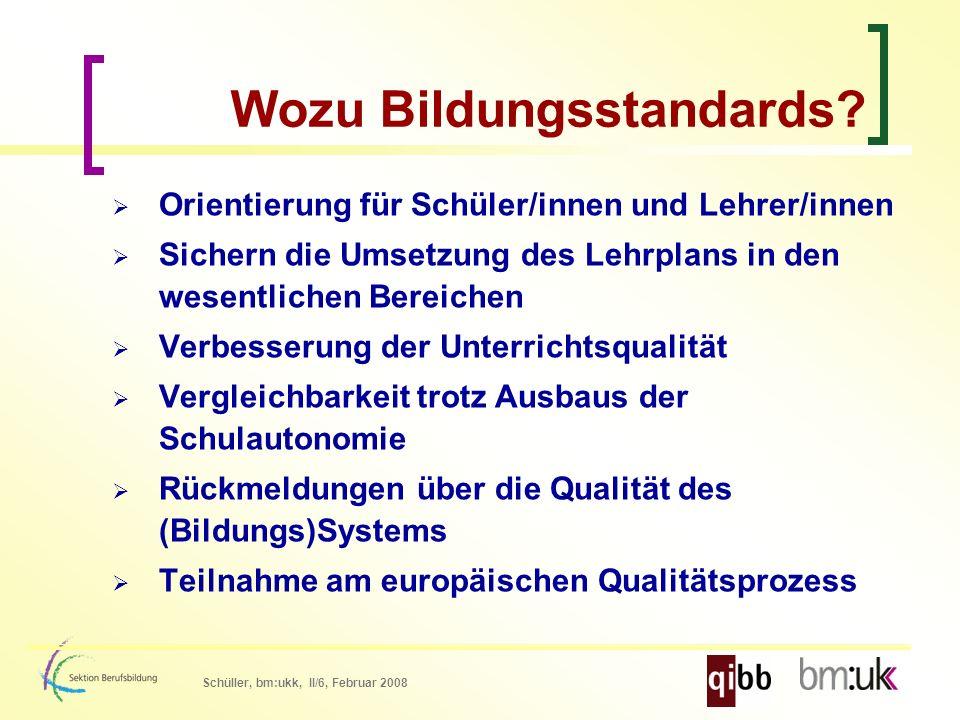 Schüller, bm:ukk, II/6, Februar 2008 Wozu Bildungsstandards.