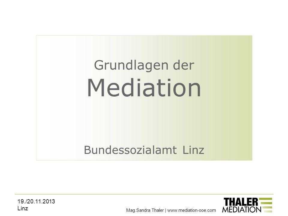 Grundlagen der Mediation Bundessozialamt Linz 19./20.11.2013 Linz Mag.Sandra Thaler | www.mediation-ooe.com