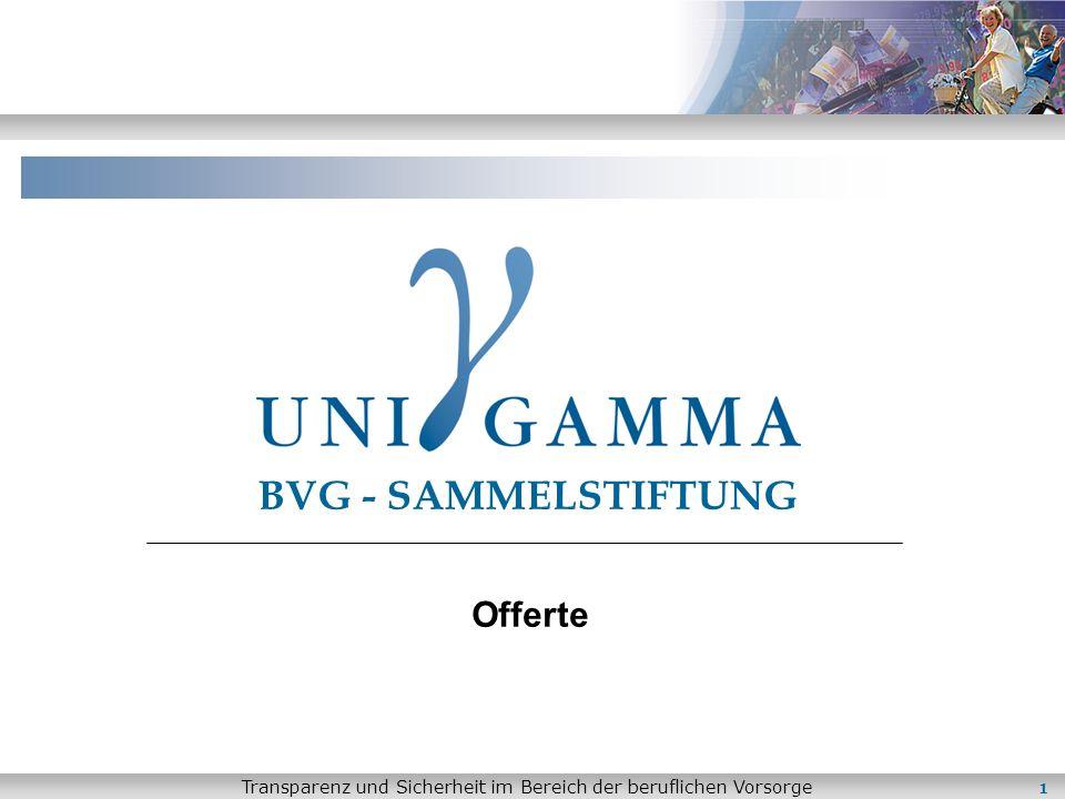 Transparenz und Sicherheit im Bereich der beruflichen Vorsorge 1 BVG - SAMMELSTIFTUNG Offerte