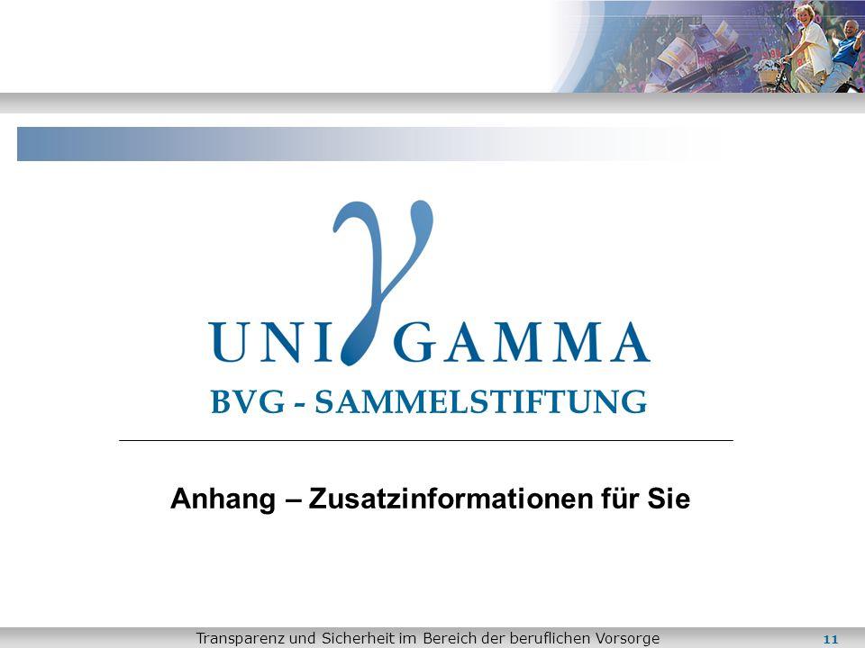 Transparenz und Sicherheit im Bereich der beruflichen Vorsorge 11 BVG - SAMMELSTIFTUNG Anhang – Zusatzinformationen für Sie