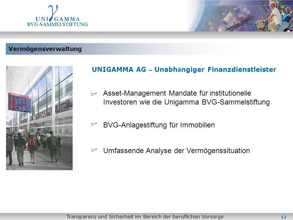 Vermögensverwaltung BVG-SAMMELSTIFTUNG Transparenz und Sicherheit im Bereich der beruflichen Vorsorge UNIGAMMA AG – Unabh ä ngiger Finanzdienstleister
