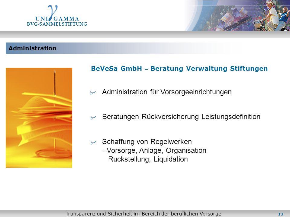 Administration BVG-SAMMELSTIFTUNG Transparenz und Sicherheit im Bereich der beruflichen Vorsorge BeVeSa GmbH – Beratung Verwaltung Stiftungen Administ