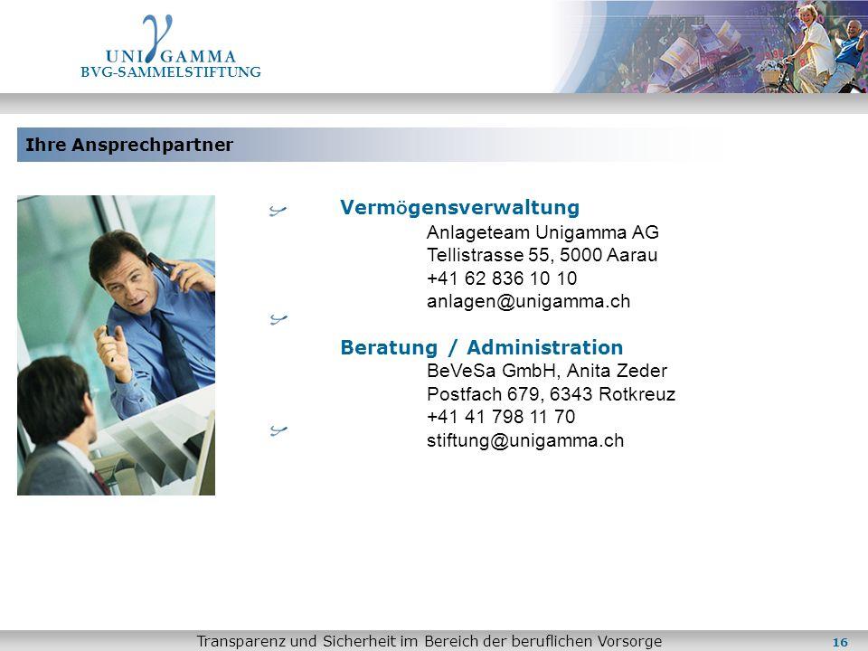 Ihre Ansprechpartner BVG-SAMMELSTIFTUNG Transparenz und Sicherheit im Bereich der beruflichen Vorsorge Verm ö gensverwaltung Anlageteam Unigamma AG Te
