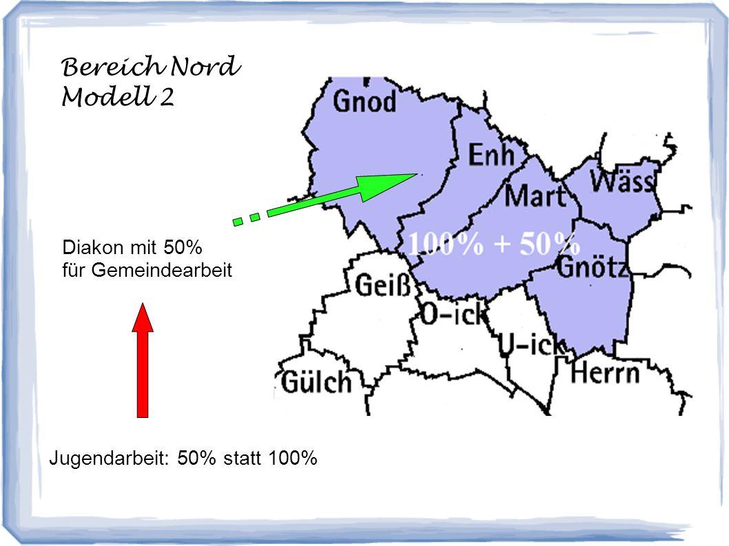 Bereich Nord Modell 2 Diakon mit 50% für Gemeindearbeit Jugendarbeit: 50% statt 100%