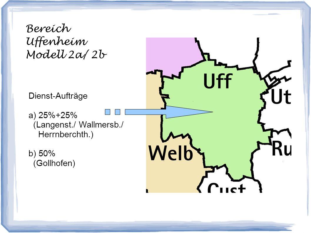 Bereich Uffenheim Modell 2a/ 2b Dienst-Aufträge a) 25%+25% (Langenst./ Wallmersb./ Herrnberchth.) b) 50% (Gollhofen)