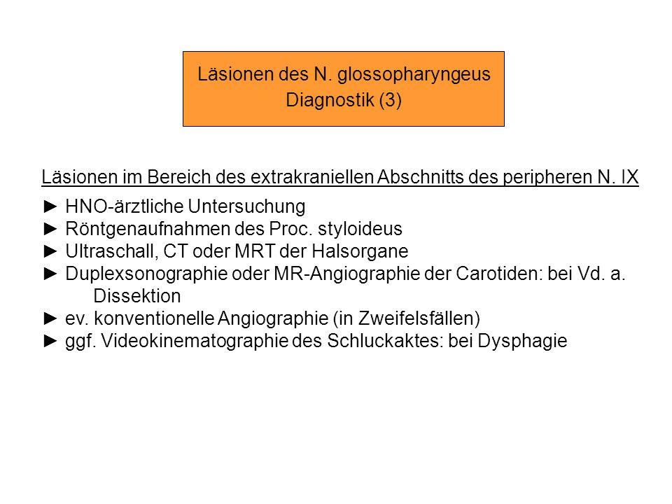 Läsionen des N. glossopharyngeus Diagnostik (3) Läsionen im Bereich des extrakraniellen Abschnitts des peripheren N. IX HNO-ärztliche Untersuchung Rön