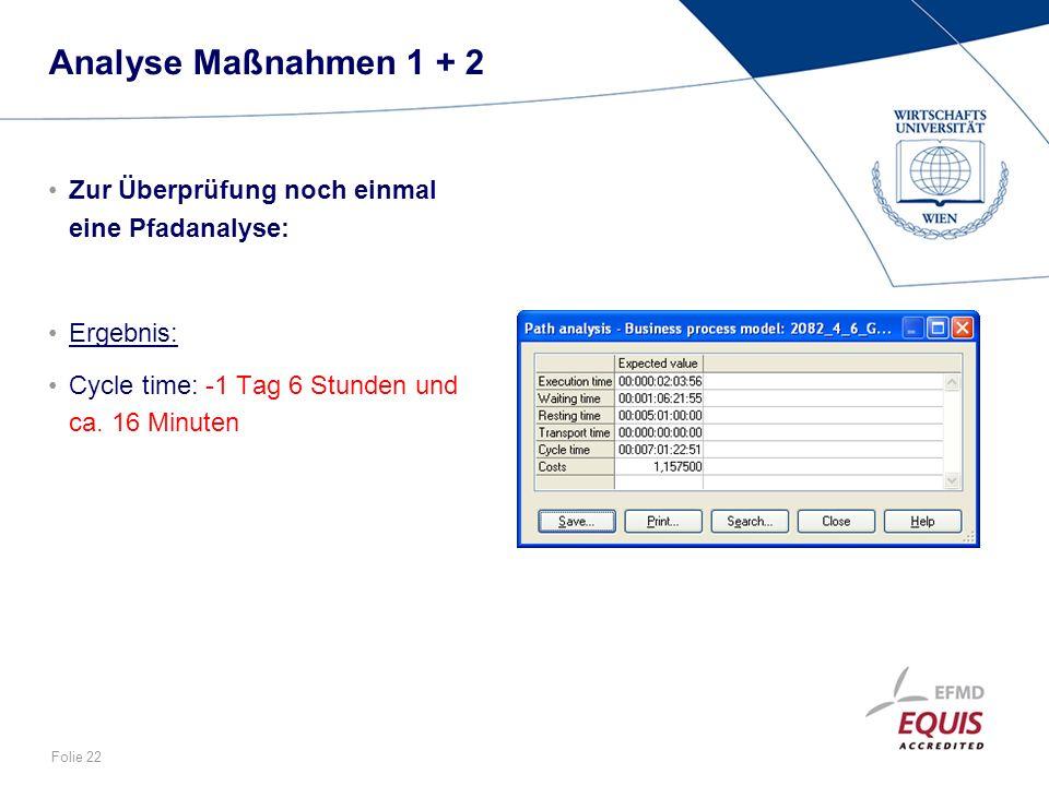 Folie 22 Analyse Maßnahmen 1 + 2 Zur Überprüfung noch einmal eine Pfadanalyse: Ergebnis: Cycle time: -1 Tag 6 Stunden und ca. 16 Minuten