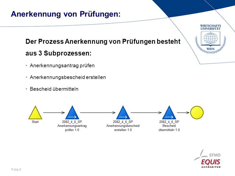 Folie 5 Anerkennung von Prüfungen: Der Prozess Anerkennung von Prüfungen besteht aus 3 Subprozessen: Anerkennungsantrag prüfen Anerkennungsbescheid er