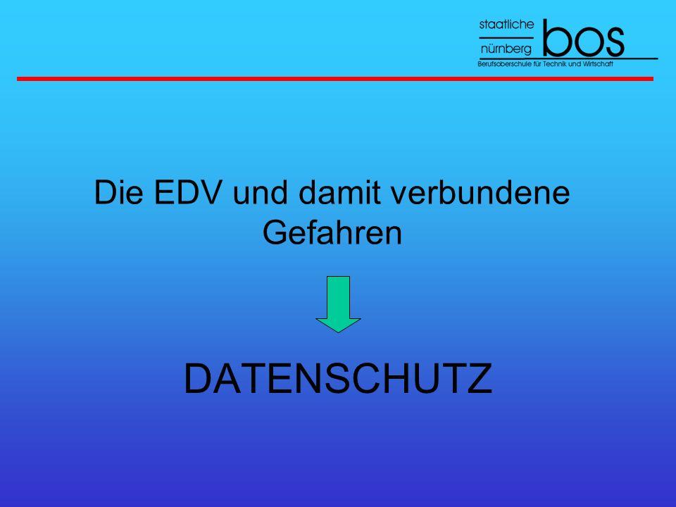 Die EDV und damit verbundene Gefahren DATENSCHUTZ