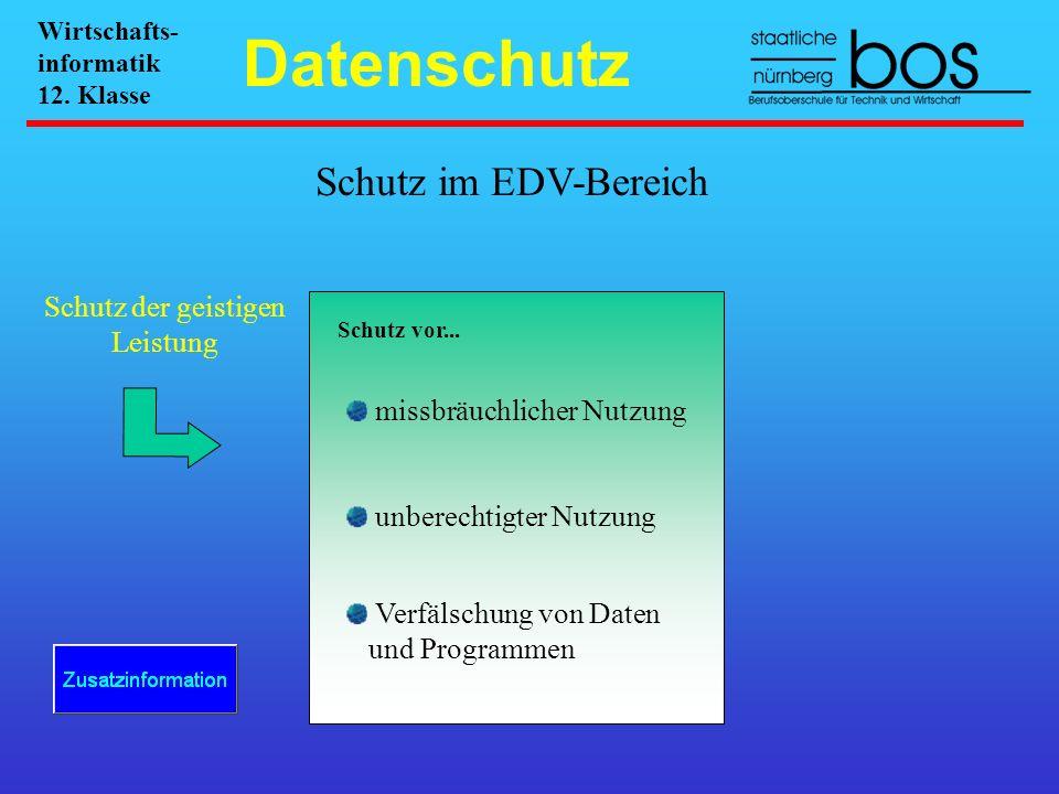 Schutz im EDV-Bereich Schutz der geistigen Leistung Schutz vor... missbräuchlicher Nutzung unberechtigter Nutzung Verfälschung von Daten und Programme