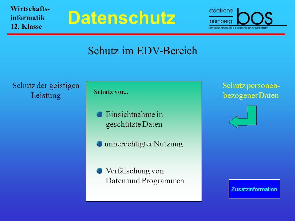 Schutz im EDV-Bereich Schutz der geistigen Leistung Schutz personen- bezogener Daten Schutz vor... Einsichtnahme in geschützte Daten unberechtigter Nu