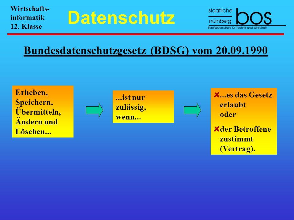 Bundesdatenschutzgesetz (BDSG) vom 20.09.1990 Erheben, Speichern, Übermitteln, Ändern und Löschen......ist nur zulässig, wenn......es das Gesetz erlau
