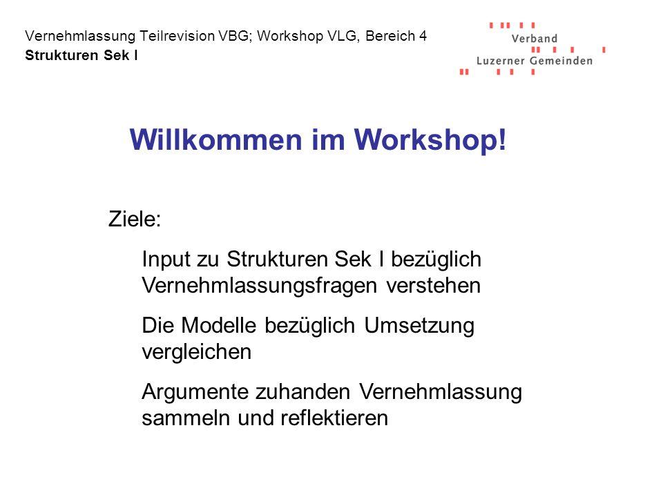 Vernehmlassung Teilrevision VBG; Workshop VLG, Bereich 4 Strukturen Sek I Willkommen im Workshop.