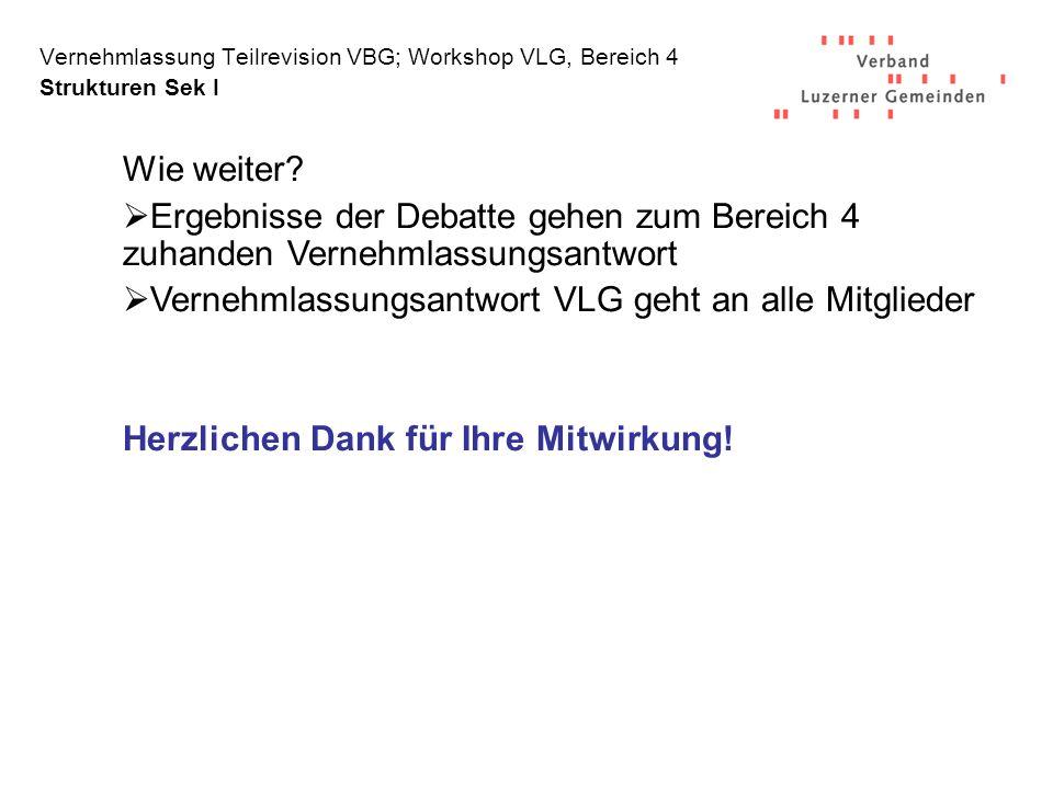 Vernehmlassung Teilrevision VBG; Workshop VLG, Bereich 4 Strukturen Sek I Wie weiter.