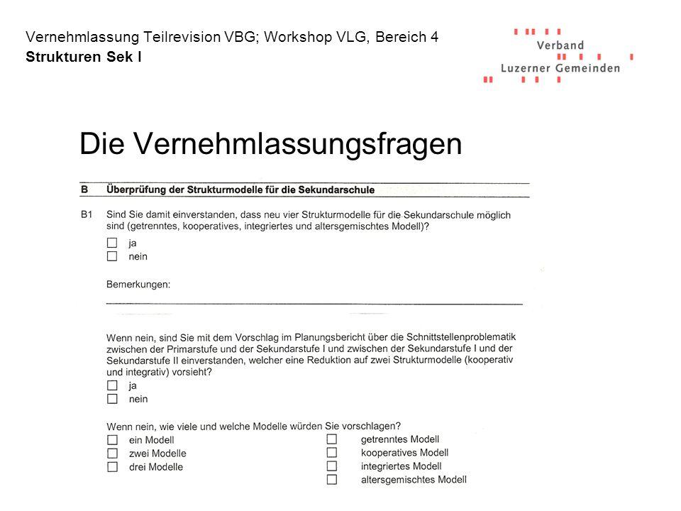 Vernehmlassung Teilrevision VBG; Workshop VLG, Bereich 4 Strukturen Sek I Die Vernehmlassungsfragen