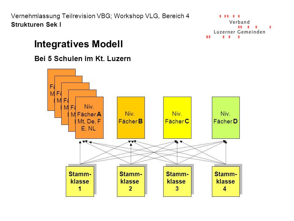 Vernehmlassung Teilrevision VBG; Workshop VLG, Bereich 4 Strukturen Sek I Niv.