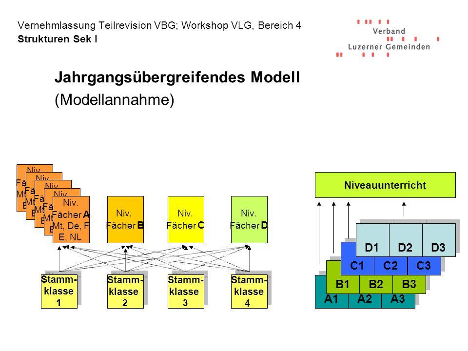 Vernehmlassung Teilrevision VBG; Workshop VLG, Bereich 4 Strukturen Sek I Jahrgangsübergreifendes Modell (Modellannahme) A1 A2 A3 B1 B2 B3 C1 C2 C3 D1 D2 D3 Niveauunterricht Niv.