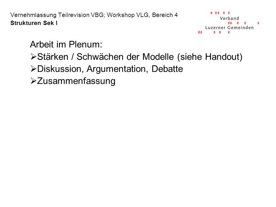 Vernehmlassung Teilrevision VBG; Workshop VLG, Bereich 4 Strukturen Sek I Arbeit im Plenum: Stärken / Schwächen der Modelle (siehe Handout) Diskussion, Argumentation, Debatte Zusammenfassung