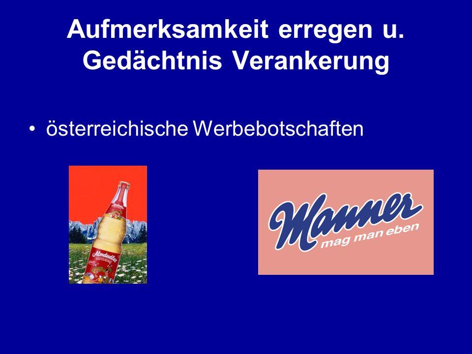 Aufmerksamkeit erregen u. Gedächtnis Verankerung österreichische Werbebotschaften