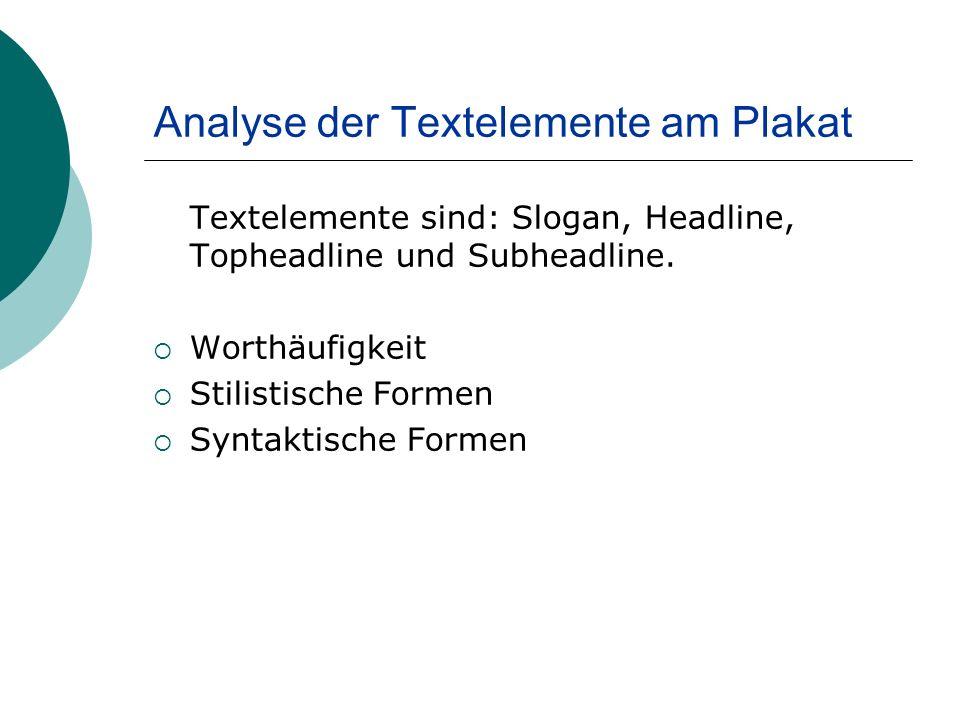 Analyse der Textelemente am Plakat Textelemente sind: Slogan, Headline, Topheadline und Subheadline.