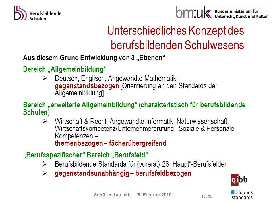 Schüller, bm:ukk, II/6, Februar 2010 10 / 35 Unterschiedliches Konzept des berufsbildenden Schulwesens Aus diesem Grund Entwicklung von 3 Ebenen Berei