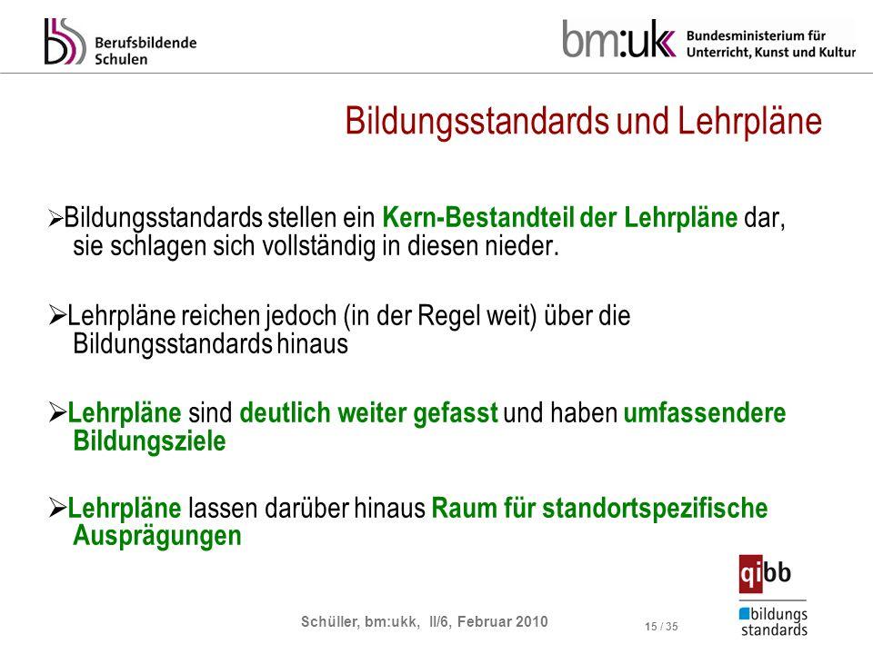 Schüller, bm:ukk, II/6, Februar 2010 15 / 35 Bildungsstandards und Lehrpläne Bildungsstandards stellen ein Kern-Bestandteil der Lehrpläne dar, sie sch