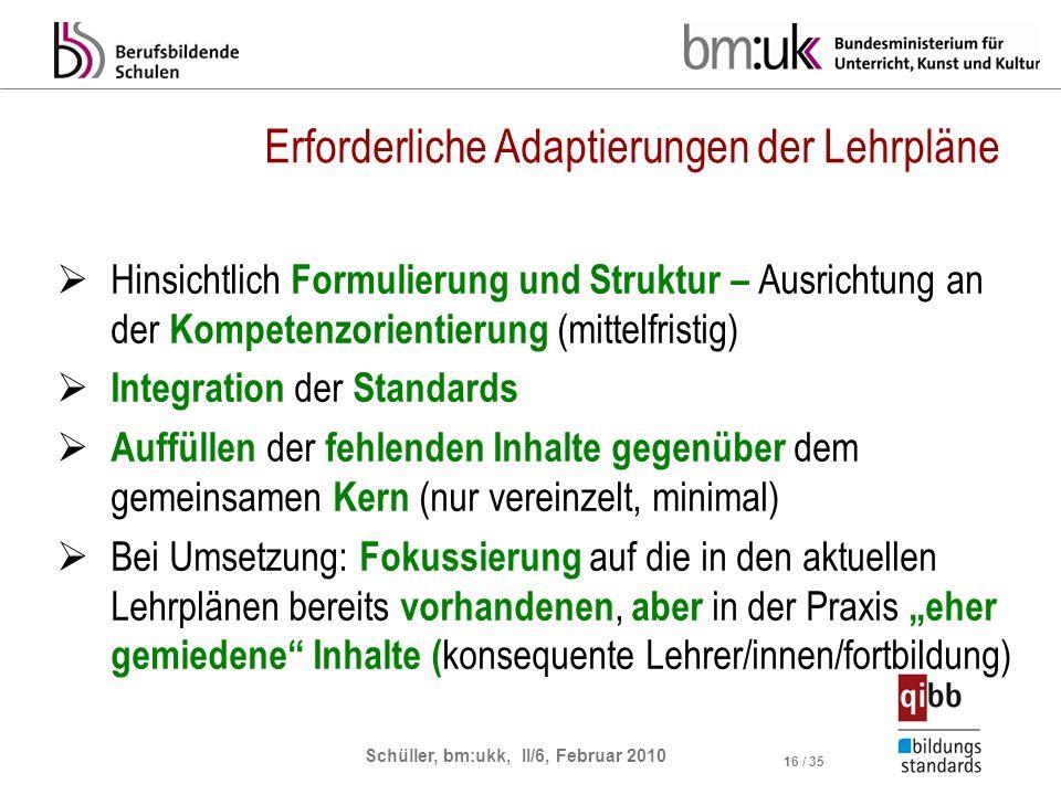 Schüller, bm:ukk, II/6, Februar 2010 16 / 35 Erforderliche Adaptierungen der Lehrpläne Hinsichtlich Formulierung und Struktur – Ausrichtung an der Kom